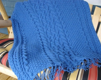 Knitting Pattern Afghan Blanket Throw with Cables Deidre and Naoise Unending Love Cable Afghan