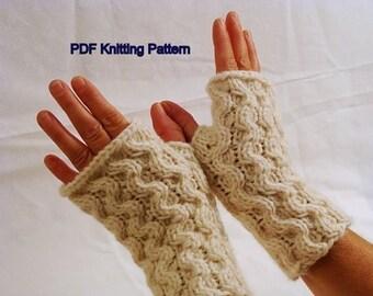 Wavy Fingerless Gloves - PDF Knitting Pattern
