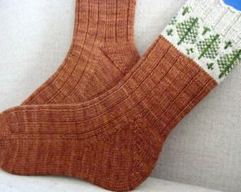 Knitting Pattern  Womens Sock A Walk Through the Cedars Pattern for hand knit socks