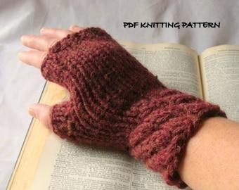 Swirl Cuff Fingerless Gloves - PDF Knitting Pattern