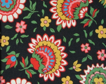 Cotton, fabric, flowers, floral, sewing fabric, quilting fabric, black, By The Yard, Windham fabrics, Rhapsody, Rosemarie Lavin