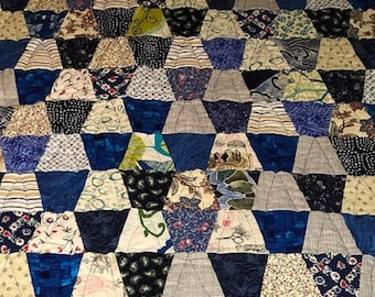 Scrappy Blue and White Cotton Tumbler Quilt