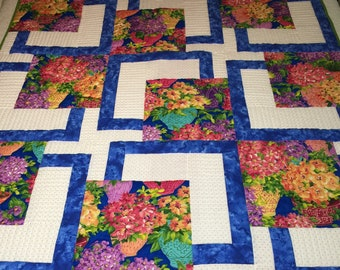 Flower  Baskets Big Block Cotton Throw Quilt Custom Quilted