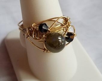 Labordorite and Jet Swarovski Crystal Ring