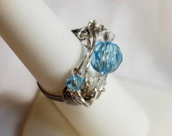 Sapphire Swarovski Crystal Ring, Silver Wire, size 6 1/2