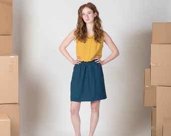 Linen skirt with pockets and elastic waistband/ Aster skirt