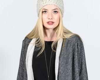Herringbone sweater jacket with pockets - Leanne sweater