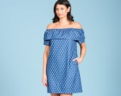 Off the shoulder dress with pockets in pineapple print Orla cotton denim dress