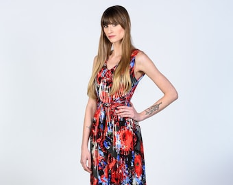 Brynn jersey dress with waist tie and pockets