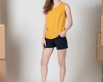 Linen blend shorts with pockets - make a matching set - faux romper/ Thimbleweed shorts