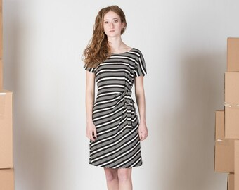 Black and white striped bamboo dress with short sleeves and ties/ Clover dress