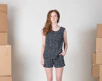 Polka dot linen shorts with pockets - make a matching set - faux romper/ Thimbleweed shorts