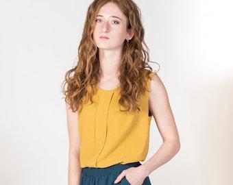 Summer linen tank top with pleat detail in yellow/ Dandelion tank