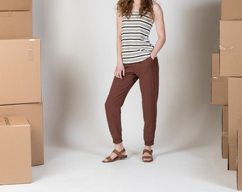 Linen jogger with pockets and cuffs/ Waterleaf pant
