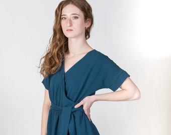 Blue linen wrap dress with pockets/ Moonseed dress