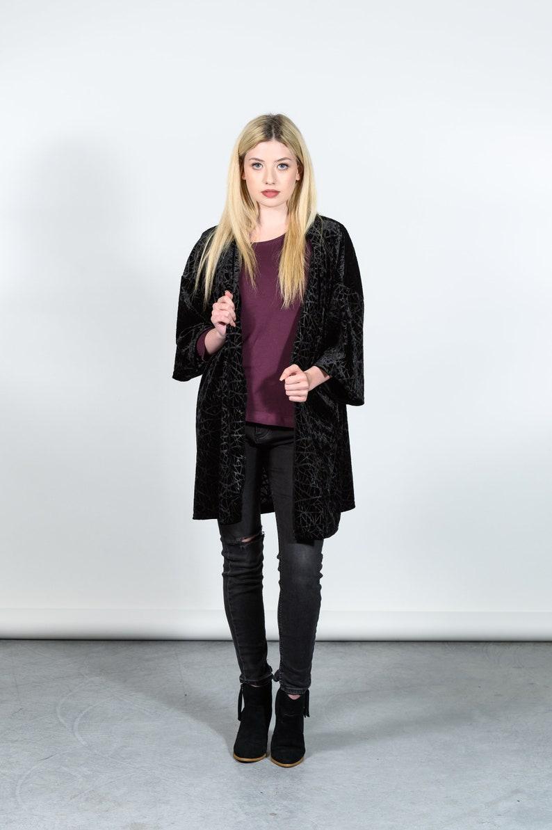 Jana kimono inspired robe in black velvet burnout