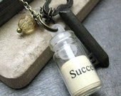 The Key to Success Linguistic Courage Bottle Quote Pendant, free shipping to U.S., Canada, flat rate everywhere else