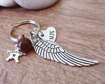 Personalized Sheriff Memorial Keychain, angel wing charm, sheriff charm, picasso jasper bead, bulk order pricing, deputy sheriff memorial