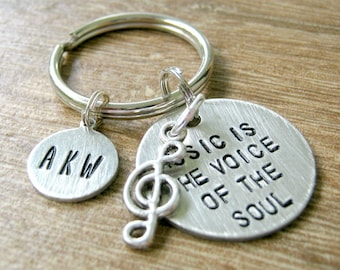 Personalized Music Keychain, Music is the Voice of the Soul, music quote keychain, treble clef charm, initial disc option, musician gift