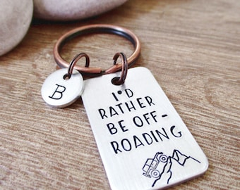 Personalized Offroading Keychain, Off roading gift, I'd Rather be Off Riding, SUV keychain, rough terrain, mountain keychain, 4 wheel drive