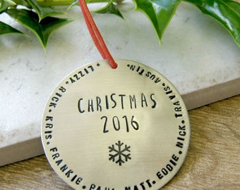 Personalized Family Christmas Ornament, Family Ornament, Holiday Ornament, Names Ornament, Personalized ornament, 47 character max