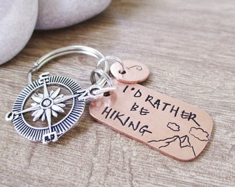 Personalized Hiking Keychain, Compass Charm, I'd Rather Be Hiking, Hiker gift, I love to hike, outdoorsy, Mountain Range Scene