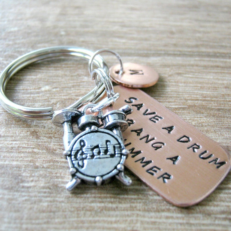 Save a Drum Bang a Drummer Keychain Drummer gift Drums image 0