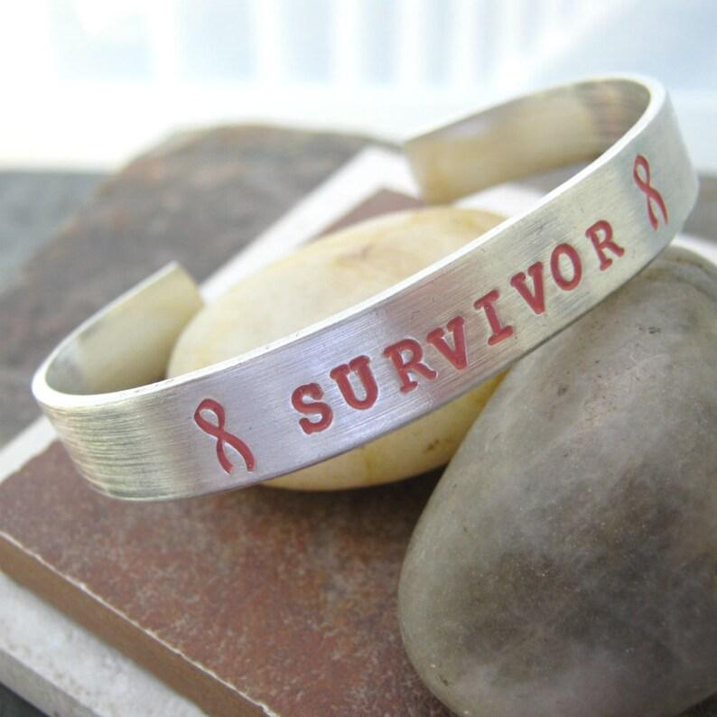 Survivor Bracelet Awareness Ribbon Bracelet Breast Cancer Bracelet Breast Cancer Survivor 38 inch aluminum cuff plus size available