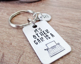 My Other Car is a Typewriter Keychain, Writing Keychain, Author gift, Novelist gift, Writer gift, gifts for writers, writing humor