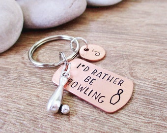 Personalized Bowler gift, I'd Rather Be Bowling keychain, initial disc option, gift for bowler, bowling league gifts, custom bowling gifts