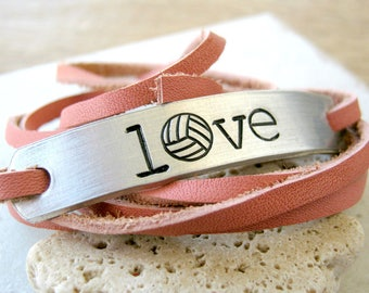 Love Volleyball Bracelet, Volleyball Love Bracelet, choose your leather color, volleyball player, Leather Wrap, Sports, volleyball gifts