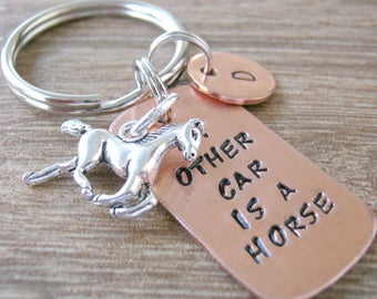 Horse Riding Keychain, My Other Car is a Horse, horse humor, horse lover's gift, equestrian gift, gift for the horse lover, initial disc