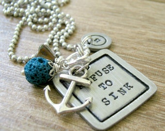Refuse to Sink Necklace, Pewter square, anchor necklace, motivational necklace, inspirational necklace, stay strong, nautical necklace