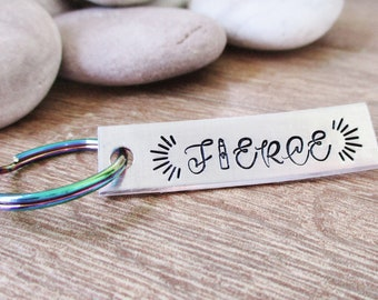Fierce Keychain with rainbow key ring, lipstick symbol, Diva gift, Fierce gift, personalize back with up to 8 characters, handstamped