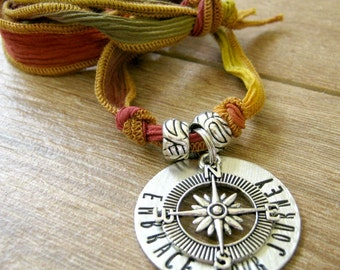 Embrace Your Journey Necklace, Compass Necklace, Silk Ribbon Necklace, Graduation Necklace, washer, customize text & ribbon color, tie clasp