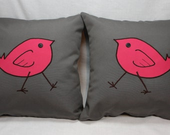 Pair of Gray Decorative Pillow Covers with Pink Bird Design