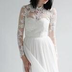 long sleeve Lace and Silk Wedding Dress--Sample SALE