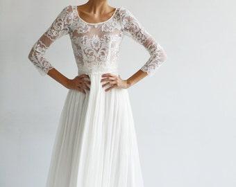 High Quality Silk and Lace long sleeve Wedding Gown, wedding dress, bridal gown, wedding wear, wedding, hand made wedding dress