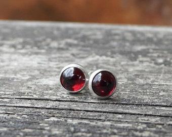 Garnet sterling silver stud earrings / gift for her / unisex earrings / 6mm earrings / January birthstone earrings / jewelry sale