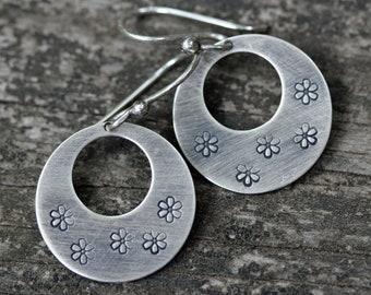 Sterling silver daisy dangle earrings / boho hoop dangles / flower earrings / gift for her / jewelry sale / silver hoops / stamped jewelry
