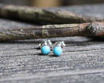 Blue Kingman turquoise earrings / turquoise studs / sterling silver earrings / silver stud earrings / gift for her / jewelry sale / boho