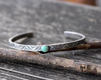 Green Kingman turquoise sterling silver cuff bracelet / American turquoise bracelet / gift for her / jewelry sale / made in the USA / boho