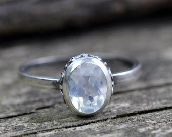 Blue moon quartz ring / sterling silver ring / gift for her / jewelry sale / oval gemstone ring / antiqued silver ring / statement ring