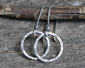 Rustic hammered sterling silver circle dangle earrings / small earrings / sterling silver earrings / gift for her  / jewelry sale
