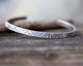 Sterling silver cuff bracelet / patterned cuff bracelet / gift for her / jewelry sale / layering bracelet / boho