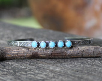Kingman turquoise sterling silver cuff bracelet / blue American turquoise bracelet / gift for her / jewelry sale / made in the USA / boho