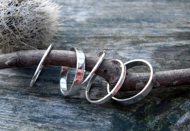 Sterling silver stacking rings  silver band  gift for her  silver ring  sterling ring  sterling band  wide band  boho ring  sale