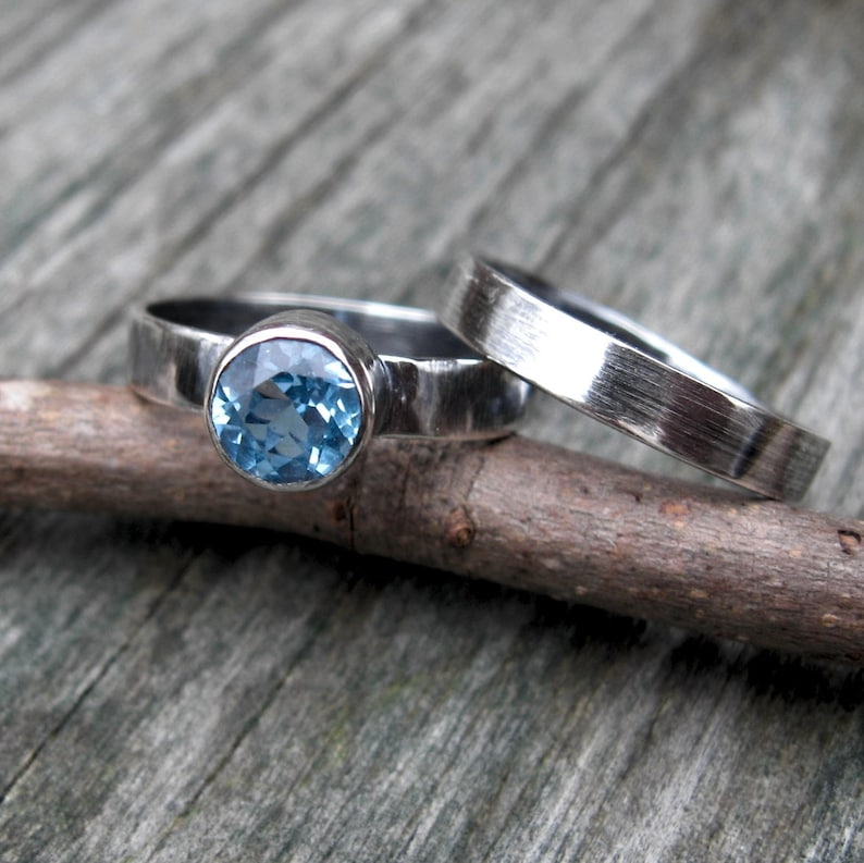Swiss blue topaz ring set  sterling silver ring set  gift for her  jewelry sale  topaz ring  gemstone ring  silver ring band
