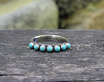 Kingman turquoise eternity band ring / sterling silver half infinity band / stacking infinity rings / gift for her / jewelry sale