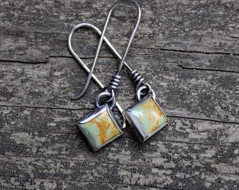 Green Kingman turquoise sterling silver stud dangle earrings / square turquoise earrings / gift for her / jewelry sale / rustic earrings
